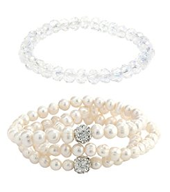 Athra 2 Piece Cultured Freshwater Pearl Bracelet Set