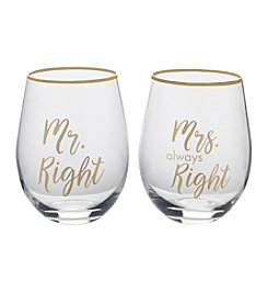 Mikasa Mr Right/Mrs Always Right Glasses Set