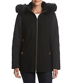 Anne Klein Faux Fur Hood Quilted Sleeve Coat