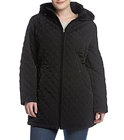 Laundry® Plus Size Hooded Zip Front Quilted Coat