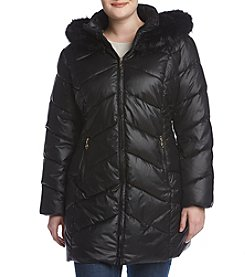 Gallery Plus Size Faux Fur Hood Quilted Coat