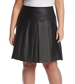 MICHAEL Michael Kors® Plus Size Faux Leather Pleated Skirt