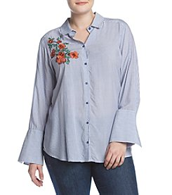 Democracy Plus Size Button Down High Cuff Top