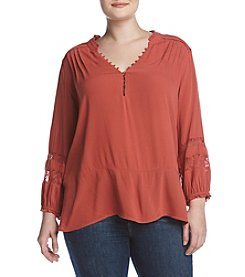 Democracy Plus Size Lace Inset Peasant Top