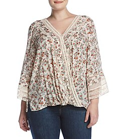 Democracy Plus Size Wrap Print Top With Crochet Detail