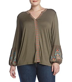 Democracy Plus Size Embroidered Blouse