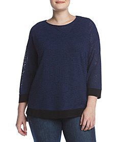 Jones New York® Plus Size Striped Rib Knit Top