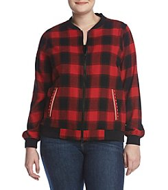 Ruff Hewn Plus Size Plaid Bomber Jacket