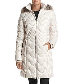 Gallery Faux Fur Hood Wave Quilted Coat
