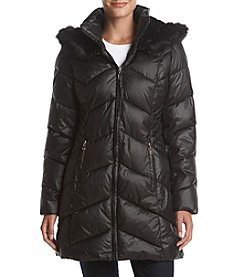 Gallery Faux Fur Hood Quilted Coat