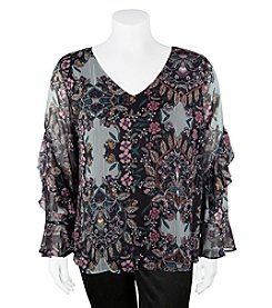 A. Byer Plus Size Floral Ruffle Sleeve Top