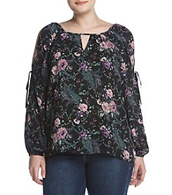 A. Byer Plus Size Floral Cold Shoulder Top