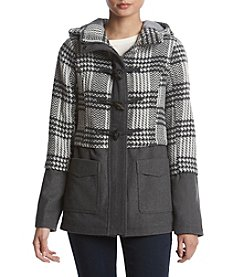 Rampage Stella Herringbone Plaid Coat