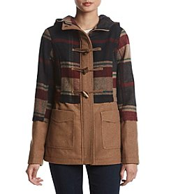 Rampage Fit And Flare Plaid Toggle Coat