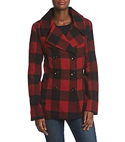 Rampage® Cailee Box Plaid Peacoat