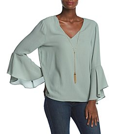 A. Byer Bell Sleeve Tie Back Top