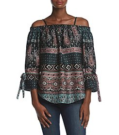 A. Byer Paisley Patchwork Off The Shoulder Top