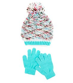 Miss Attitude Girls' 4-6X Pom Beanie And Knit Gloves Set