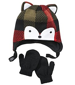 Statements® Boys' 2T-4T Buffalo Check Fox Beanie And Knit Mittens Set