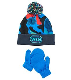 Statements® Boys' 2T-4T Win Knit Pom Beanie And Mittens Set