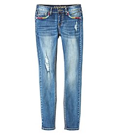 Vigoss® Girls' 7-16 Arrow Embroidered Pocket Destruction Skinny Jeans
