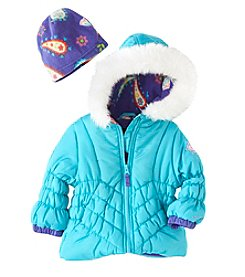London Fog® Baby Girls' Hooded Coat With Fleece Hat