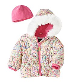 London Fog® Baby Girls' Puffer Coat With Fleece Hat