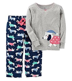 Carter's Baby Girls' 12M-14 2 Piece Dog Fleece Pajamas
