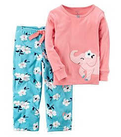 Carter's Baby Girls' 12M-7 2 Piece Elephant Cotton and Fleece Pajamas