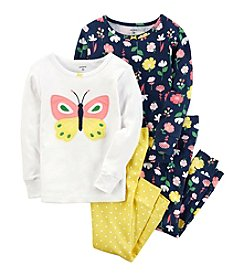 Carter's Girls' 4-8 4 Piece Butterfly Snug Fit Cotton Pajamas