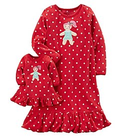 Carter's Girls' 8-14 Fleece Doll Gown Set