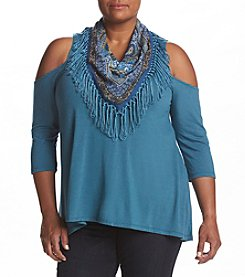 Oneworld® Plus Size Cold Shoulder Scarf Top