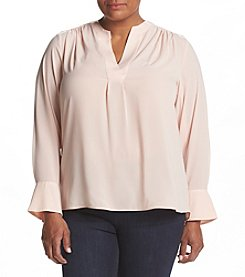 Calvin Klein® Plus Size V-Neck Bell Sleeve Blouse