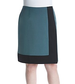 Nine West Plus Size Colorblock Design A-Line Skirt