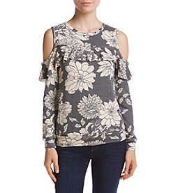 A. Byer Ruffle Front Cold Shoulder Top