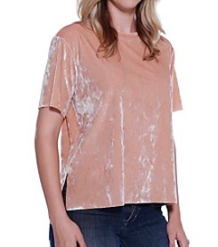 Skylar & Jade™ Crushed Faux Velvet Boxy Top