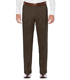 Savane Men's Big & Tall Cross Hatch Stretch Pleated Dress Pants