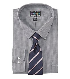 Alexander Julian Men's Big & Tall Regular Fit Dress Shirt And Tie Set