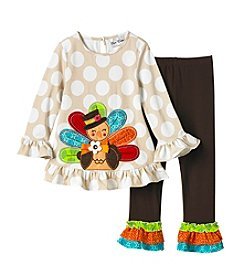 Rare Editions Girls' 4-6X Turkey Tunic And Ruffle Leggings Set
