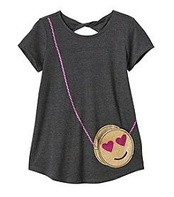 Jessica Simpson Girls' 7-16 Short Sleeve Smiley Screen Print Tee