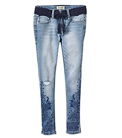 Squeeze Girls' 7-14 Crochet Tie Belt Jeans