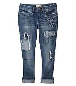 Squeeze Girls' 7-14 Rip And Repair Roll Cuff Jeans