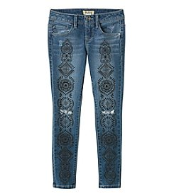 Squeeze® Girls' 7-14 Henna Tattoo Split Knee Skinny Jeans