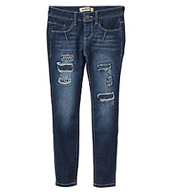 Squeeze Girls' 7-14 Rip And Repair Grommet Skinny Jeans