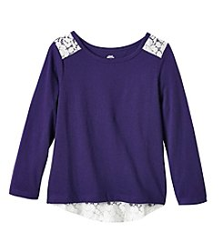 Mix & Match Girls' 2T-4T Long Sleeve Solid Lace Tee