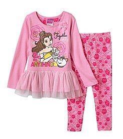 Disney® Girls' 2T-6X Belle Pullover And Leggings Set