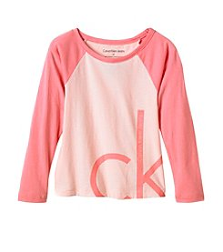 Calvin Klein Girls' 2T-16 Long Sleeve Oversized Logo Tee