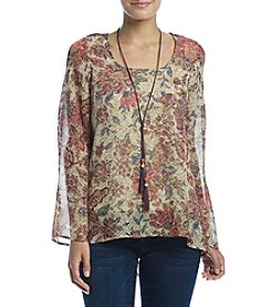 Oneworld Floral Print Necklace Top