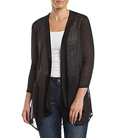 August Silk Black Chiffon Hem Cardigan