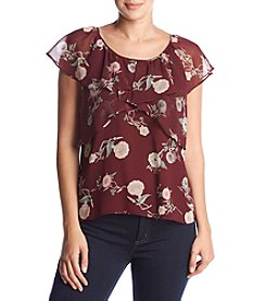 Max Studio Edit Floral Ruffle Blouse